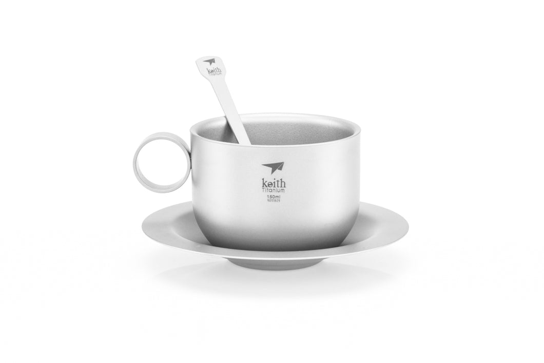 Keith Titanium Coffee cup with saucer and spoon Ti3601