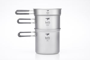 Keith 3-Piece Titanium Pot and Pan Cook Set Ti6014