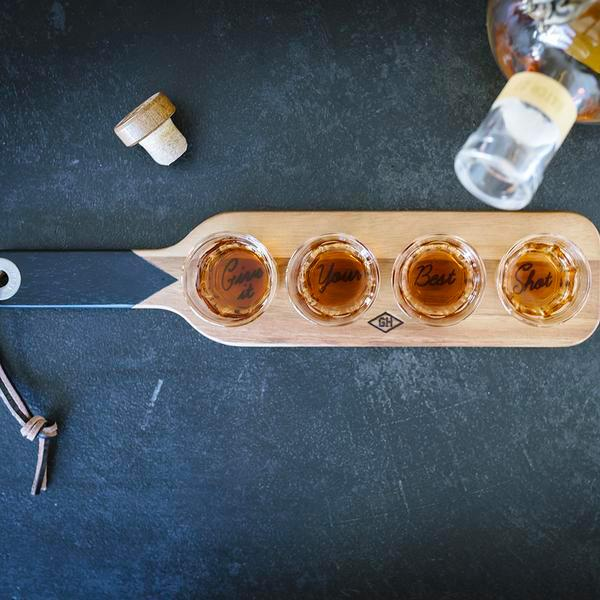Gentlemen's Hardware Shot Glasses and Serving Paddle