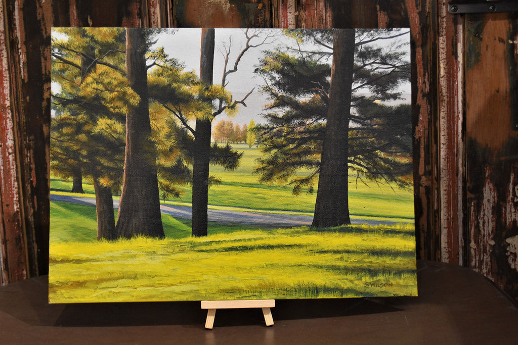 Through the Pines - Original acrylic painting on canvas board