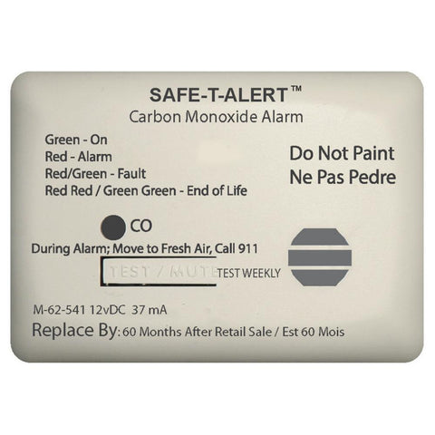 Safe-T-Alert 62 Series Carbon Monoxide Alarm w-Relay - 12V - 62-541-Marine-RLY-NC - Surface Mount - White