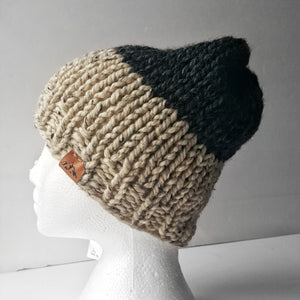 WOC Colour Block Slouch - Oatmeal & Charcoal