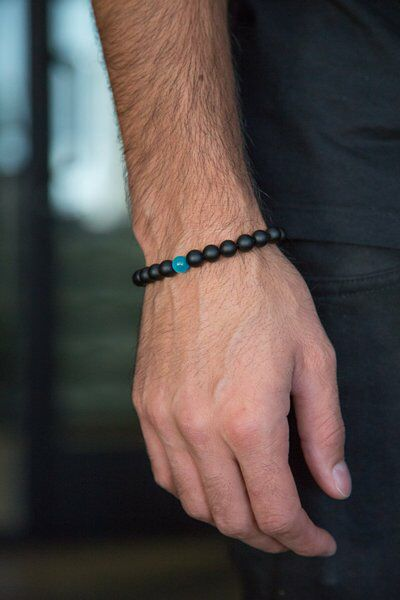 Women's/Men's - Unisex Beaded Stone Teal & Black Bracelet