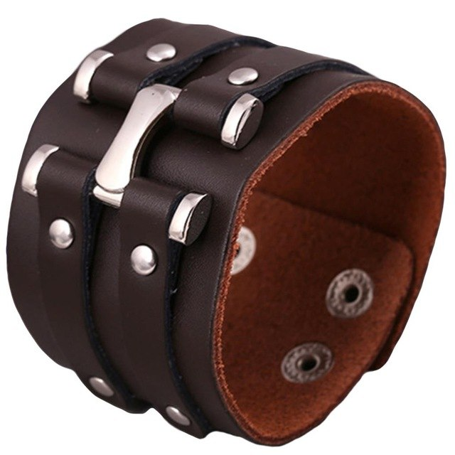 Unisex Wide Leather & Metal Alloy Bracelet