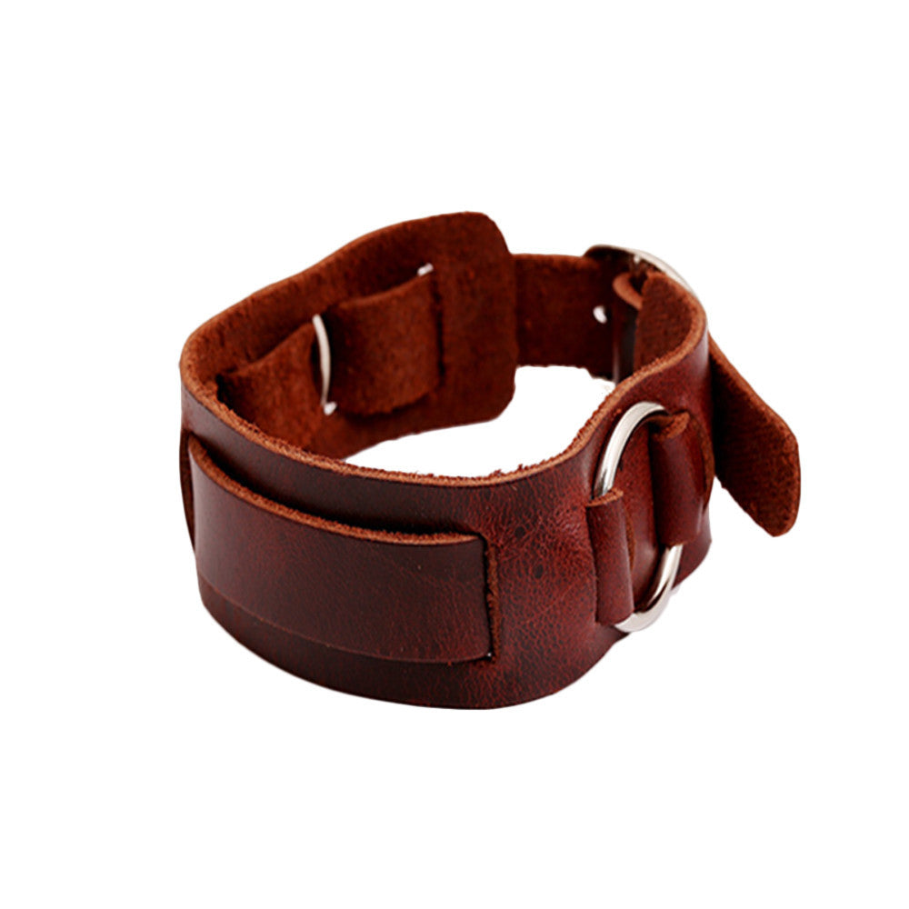 Simple Leather Bracelet with Ring