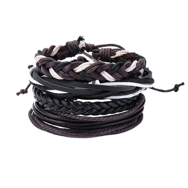 Stacked Leather Bracelet Set, Unisex