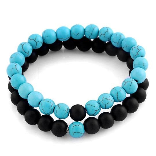 Beaded Stone Teal & Black Bracelet 2 pcs