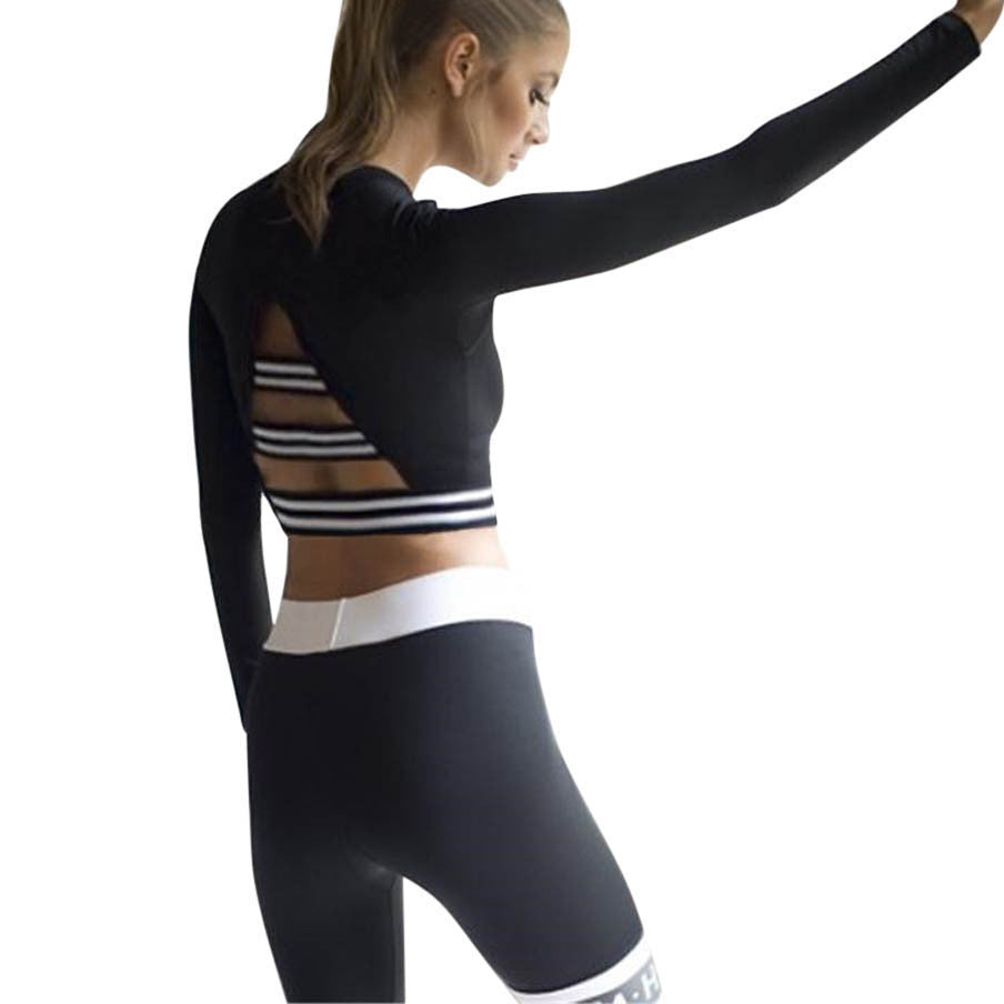 Women's Long Sleeve Stripe Style Sport Top