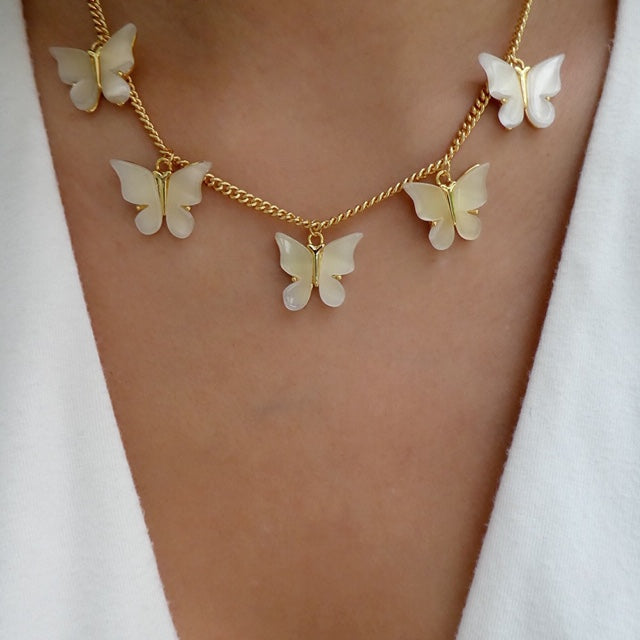 Jonas Butterfly Necklace (White)