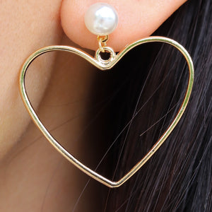 Mercy Heart & Pearl Earrings