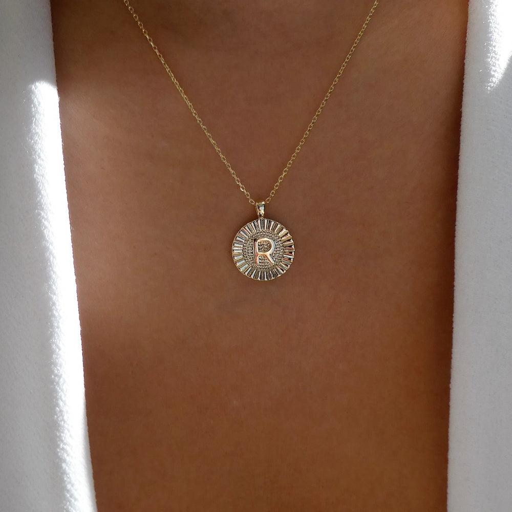 Letter Coin Necklace (R)