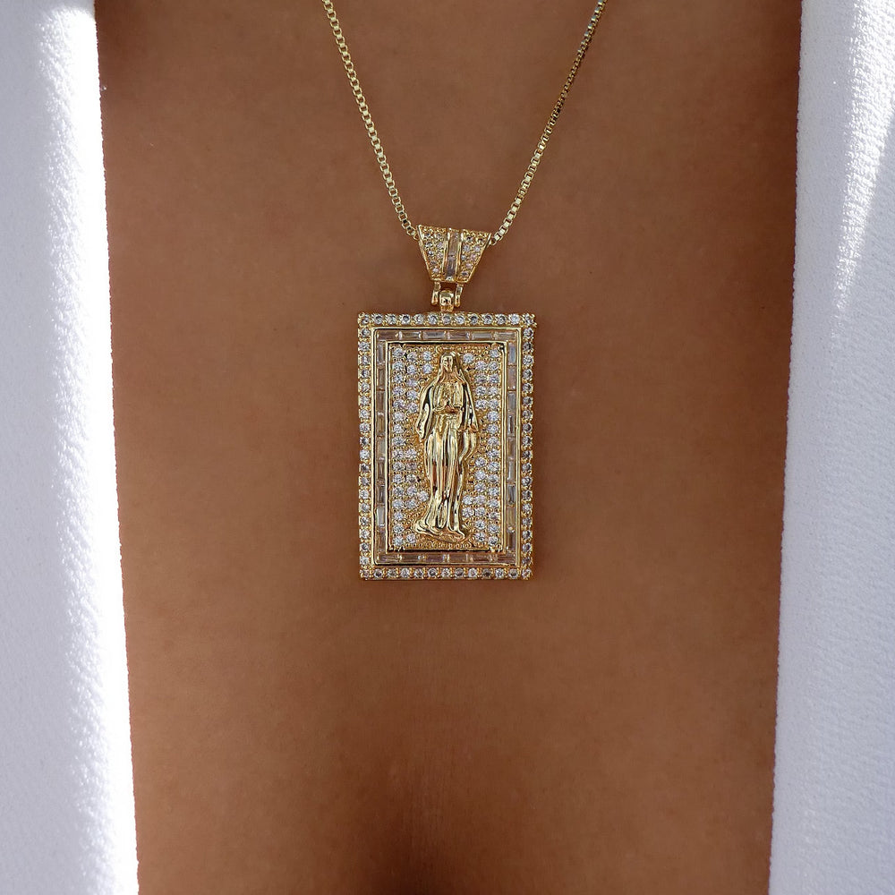 Crystal Mary Block Necklace