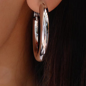 14K White Gold Hoops