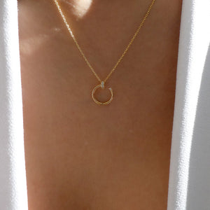 14K Crystal Nail Necklace