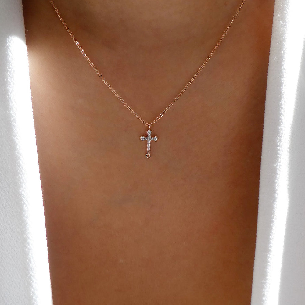 Mini Crystal Cross Necklace (Rose Gold)