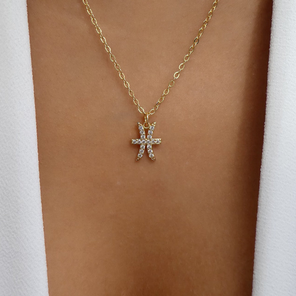 Crystal Zodiac Necklace (Pisces)