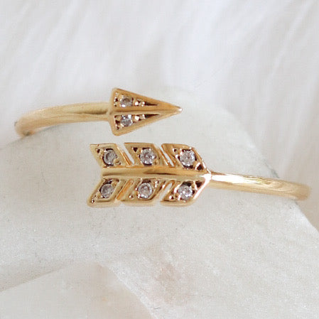 18K Crystal Arrow Ring