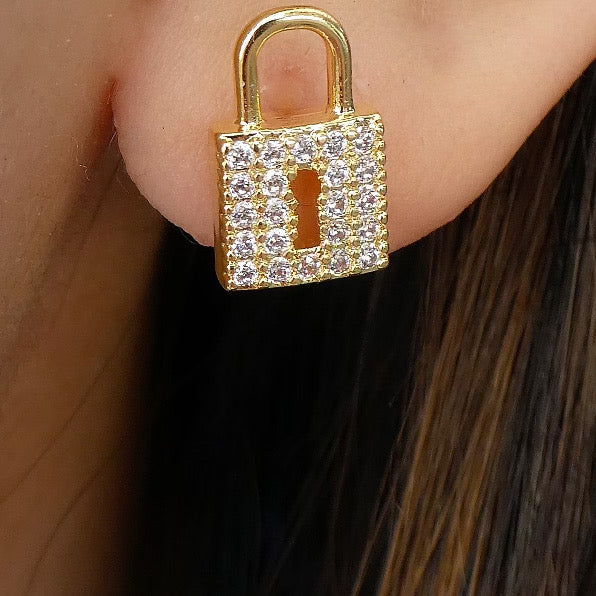 Mini Crystal Lock Earrings