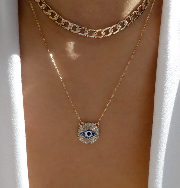 Safaa Coin & Eye Necklace Set