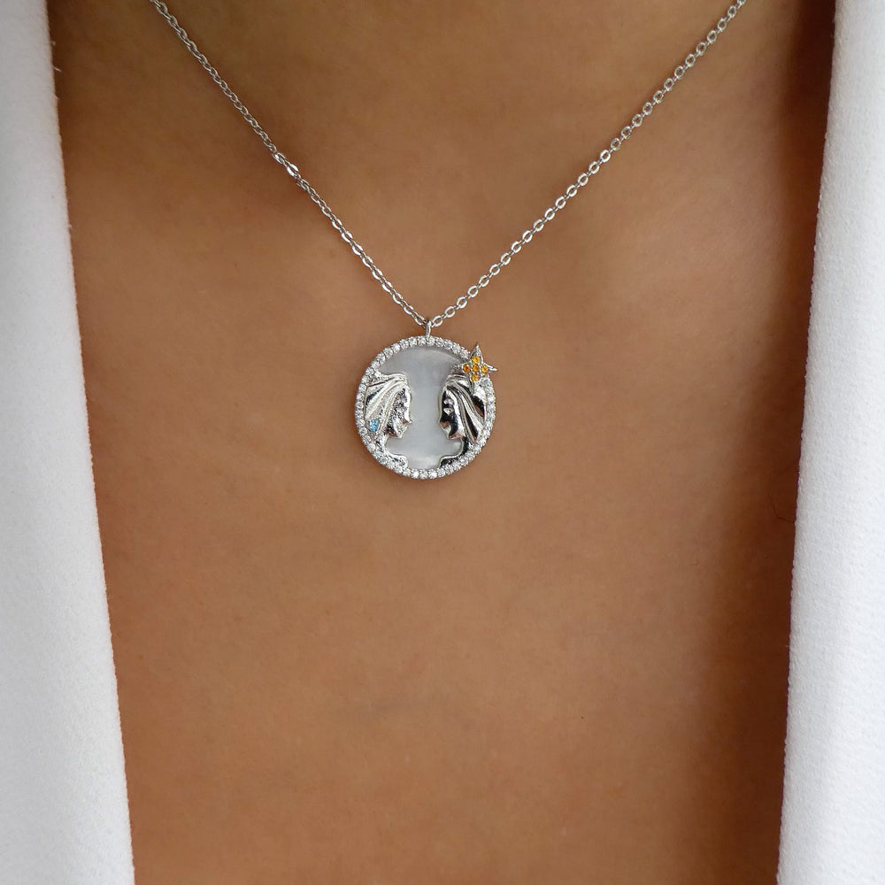 Silver Ali Zodiac Necklace (Gemini)