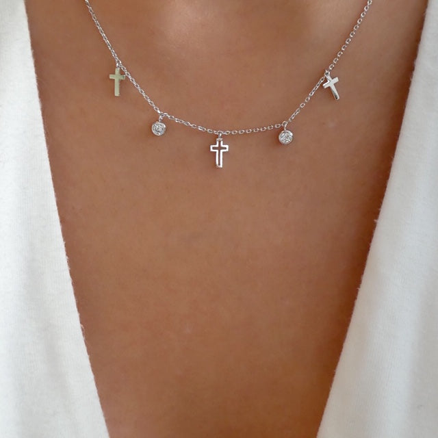 Sia Cross Necklace (Silver)