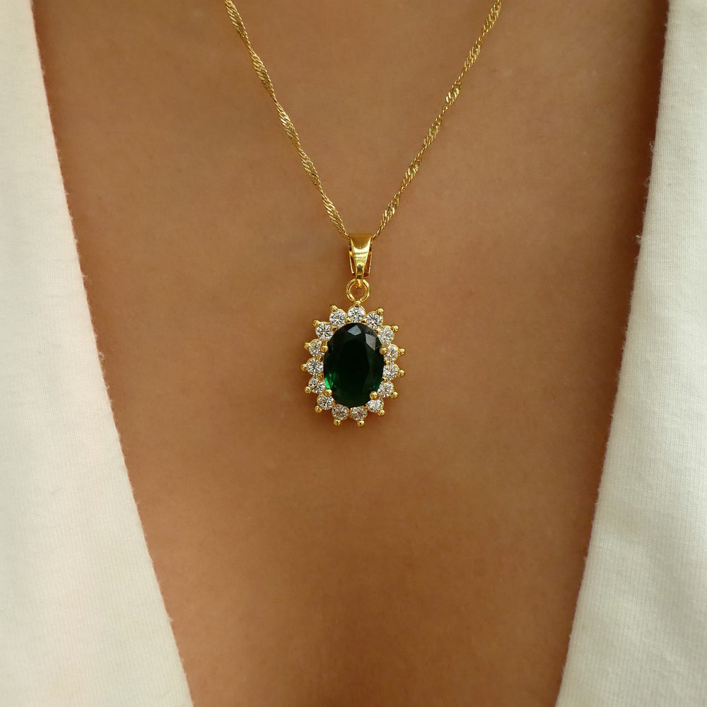Crystal Emerald Pendant Necklace