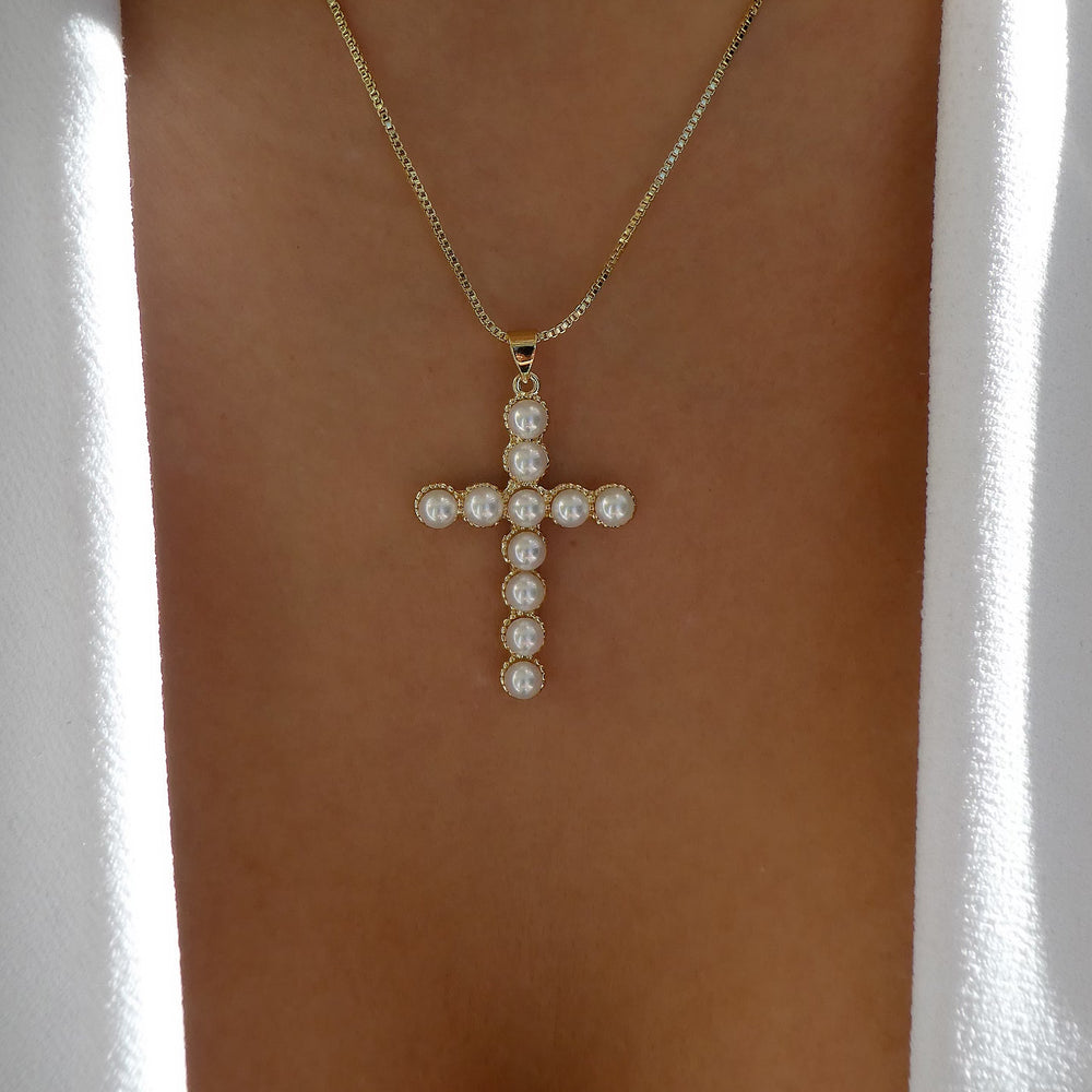 Princeton Pearl Cross Necklace