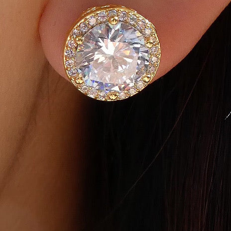 14K Crystal Stud Earrings