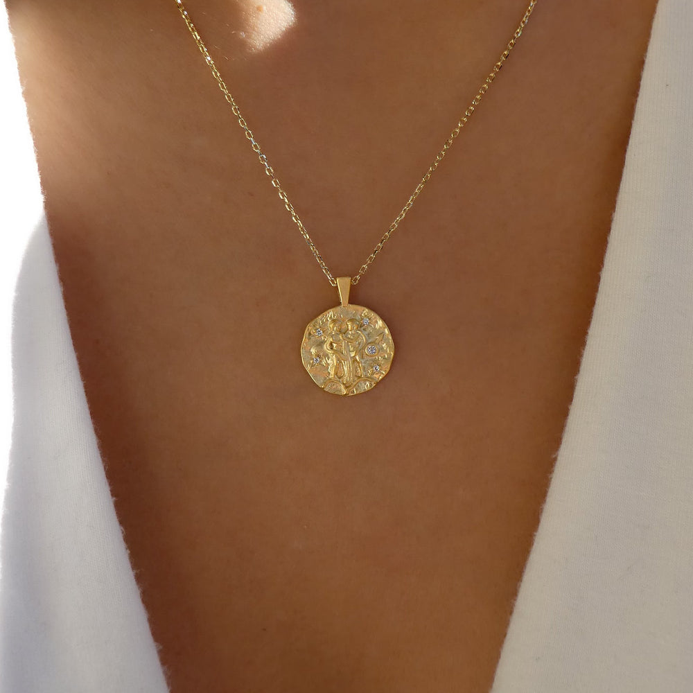 Zodiac Coin Necklace (Gemini)