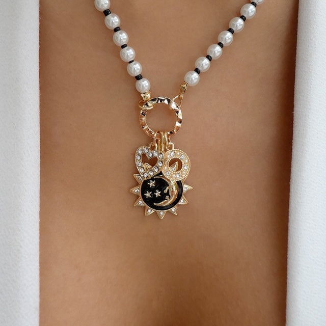 Pearl Moon & Heart Charm Necklace