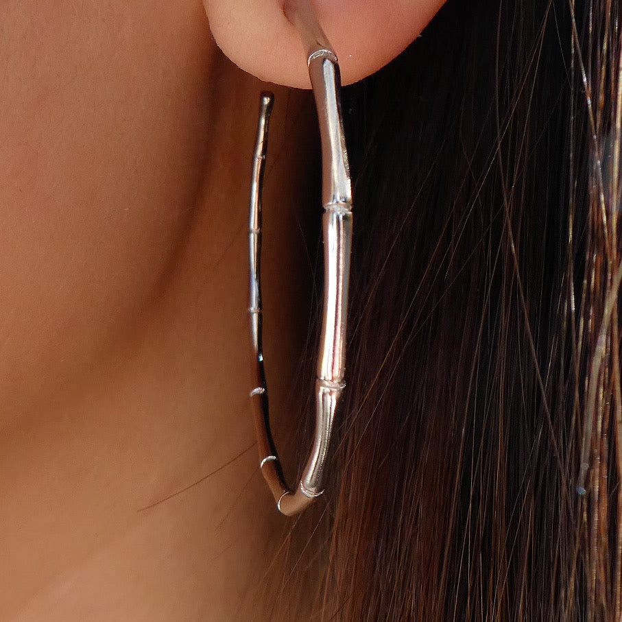 24K White Gold Bamboo Hoops