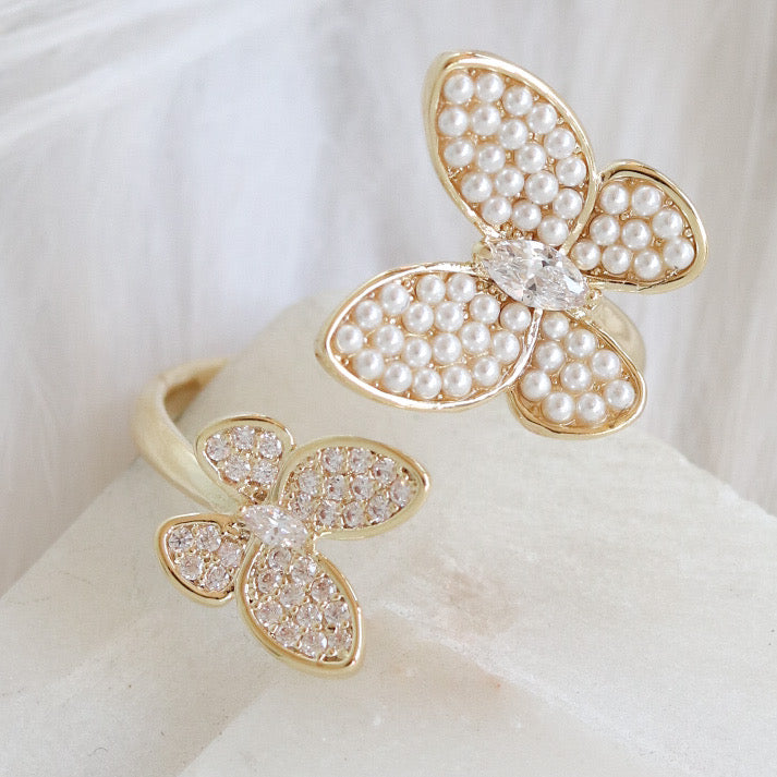 Crystal & Pearl Butterfly Ring