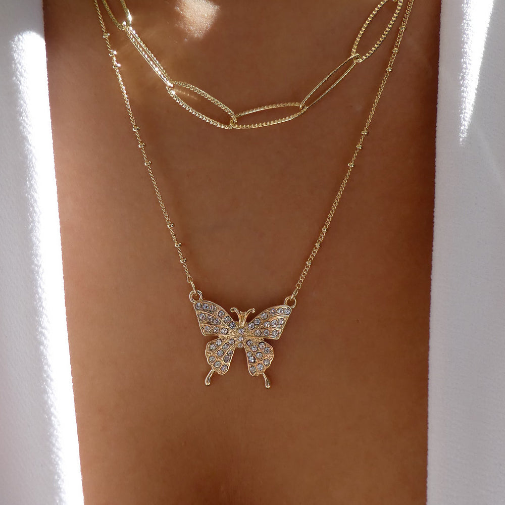 Julie Butterfly & Chain Necklace