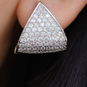 Crystal Pyramid Earrings (Silver)
