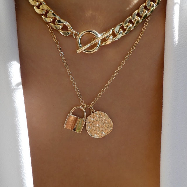 Coin & Lock Necklace