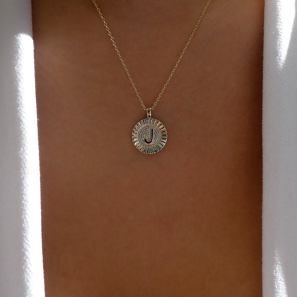 Letter Coin Necklace (J)