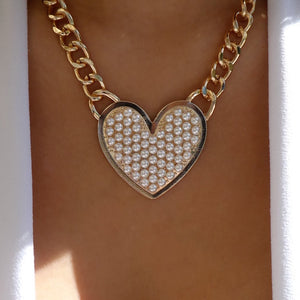 Neo Pearl Heart Necklace