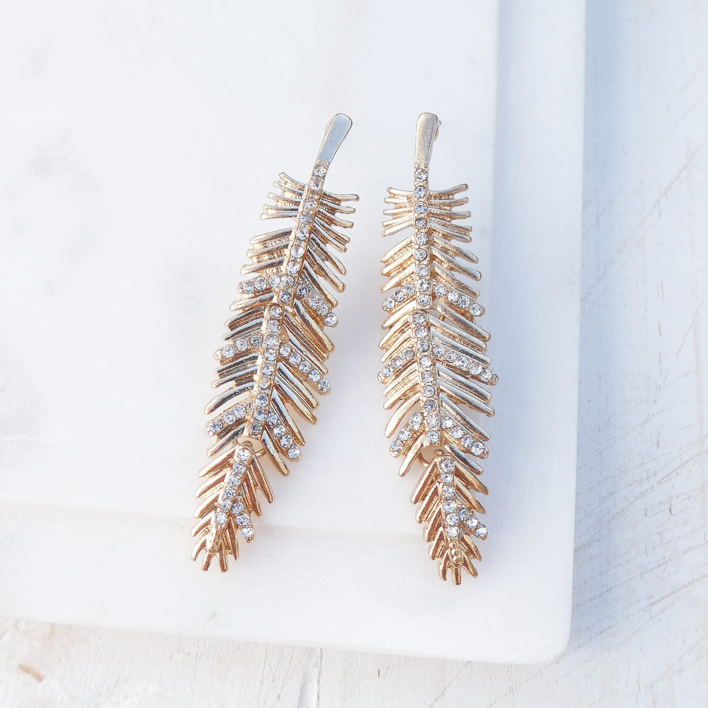 Gold Crystal Feather Earrings