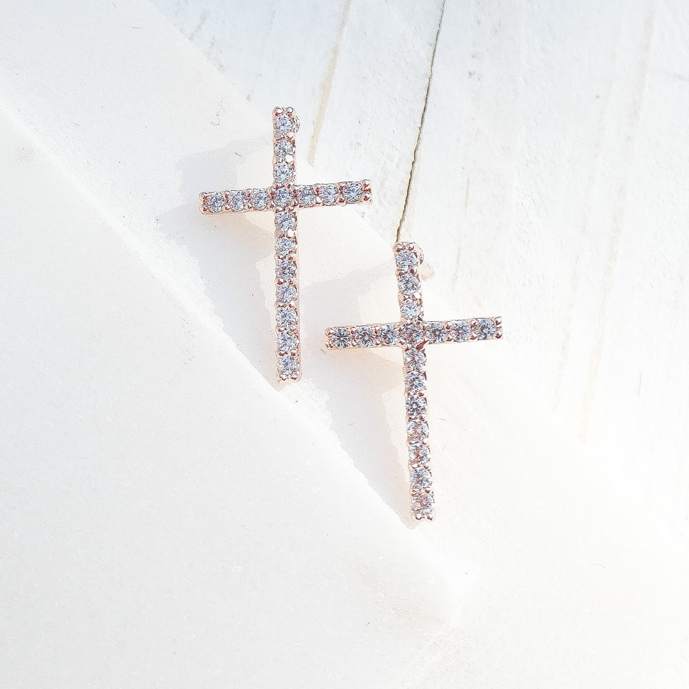 Rose Gold Mia Cross Earrings