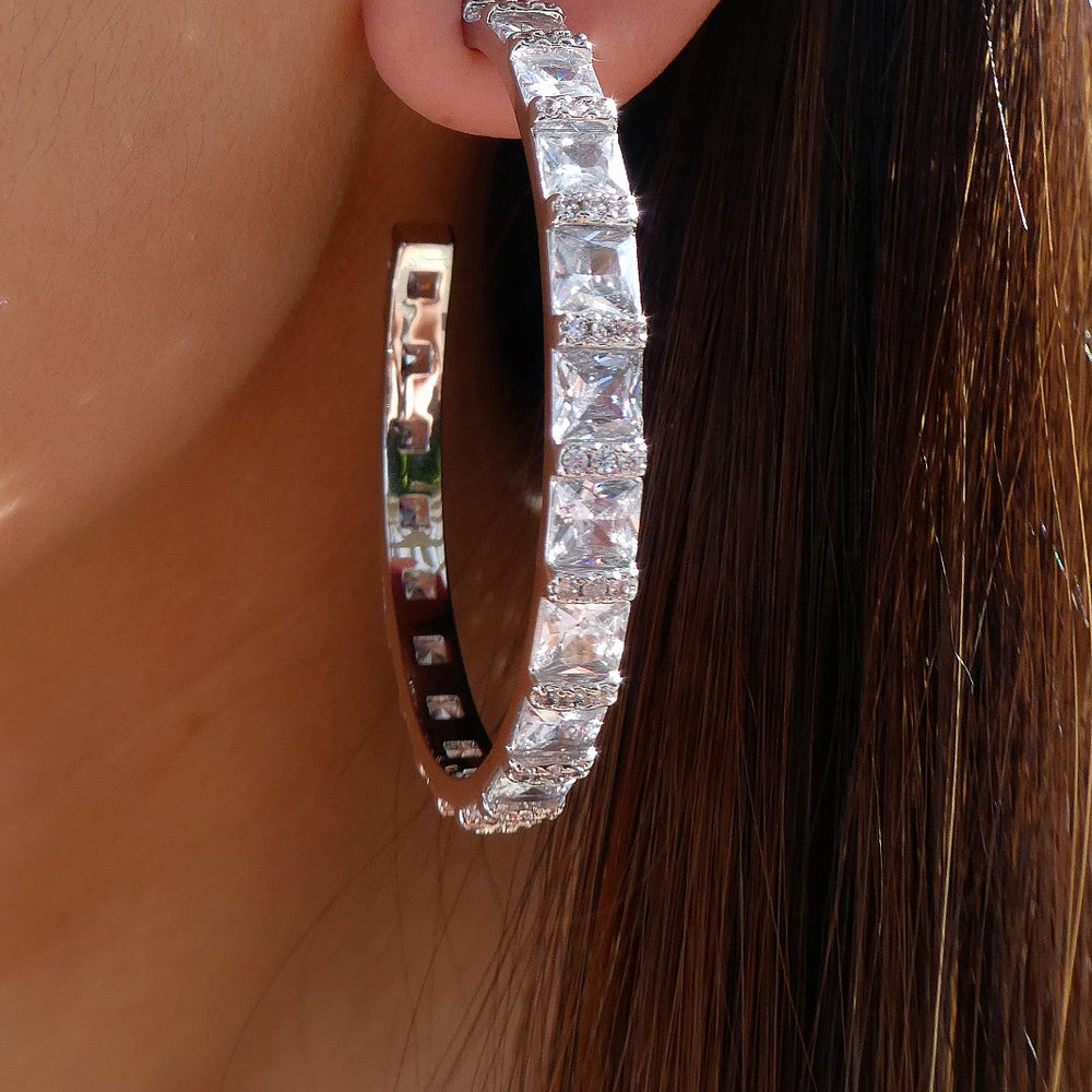 Silver Crystal Janey Hoops