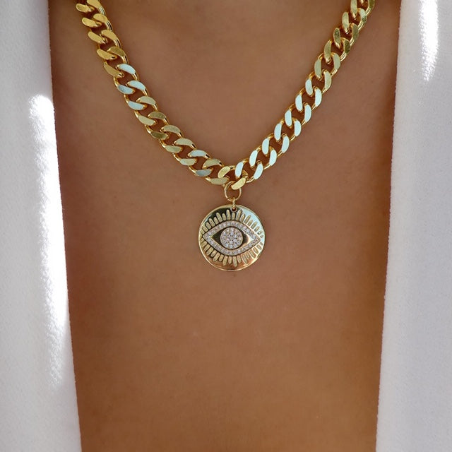Eye Coin Chain Necklace