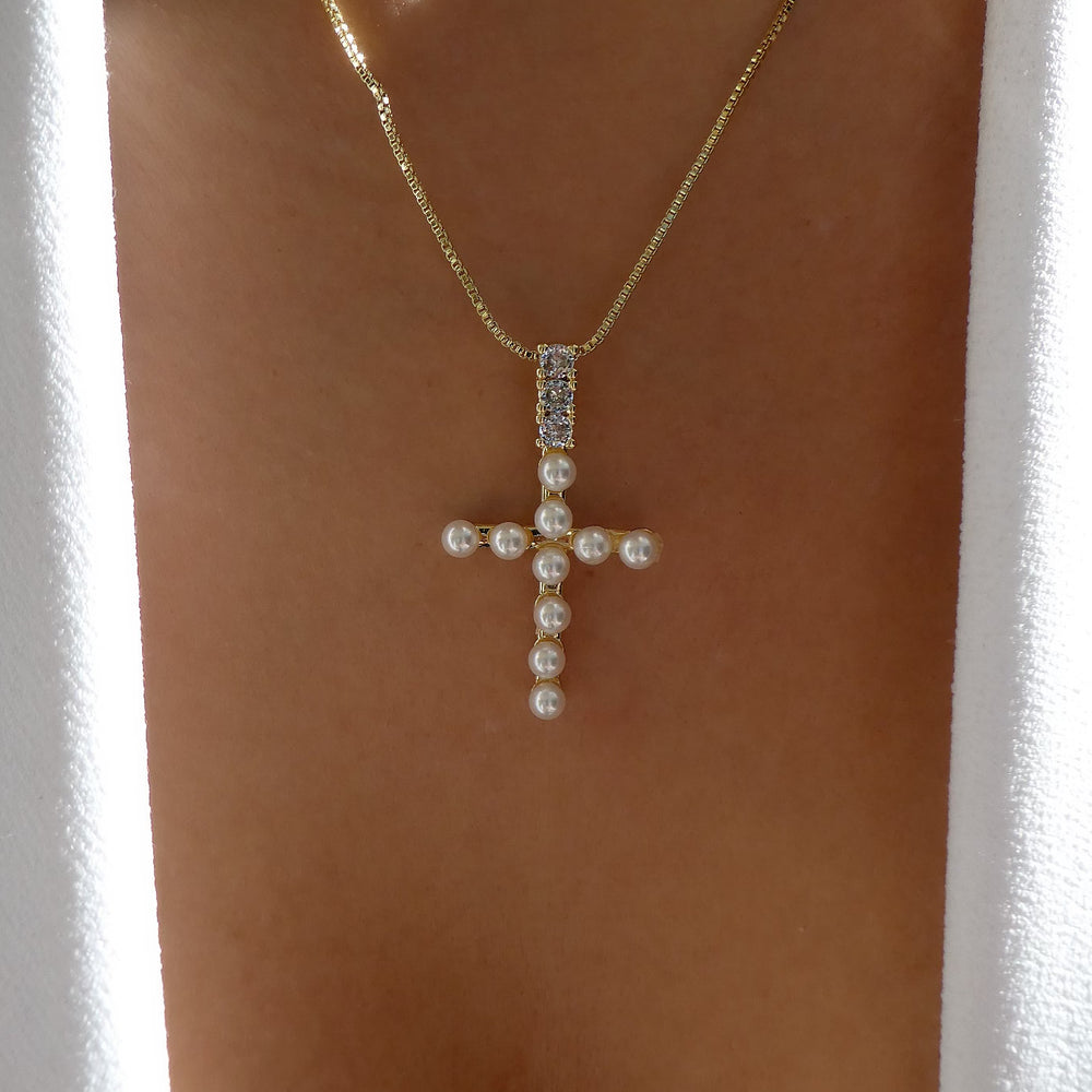 Cyrus Pearl Cross Necklace
