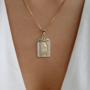 Crystal Madonna Coin Necklace