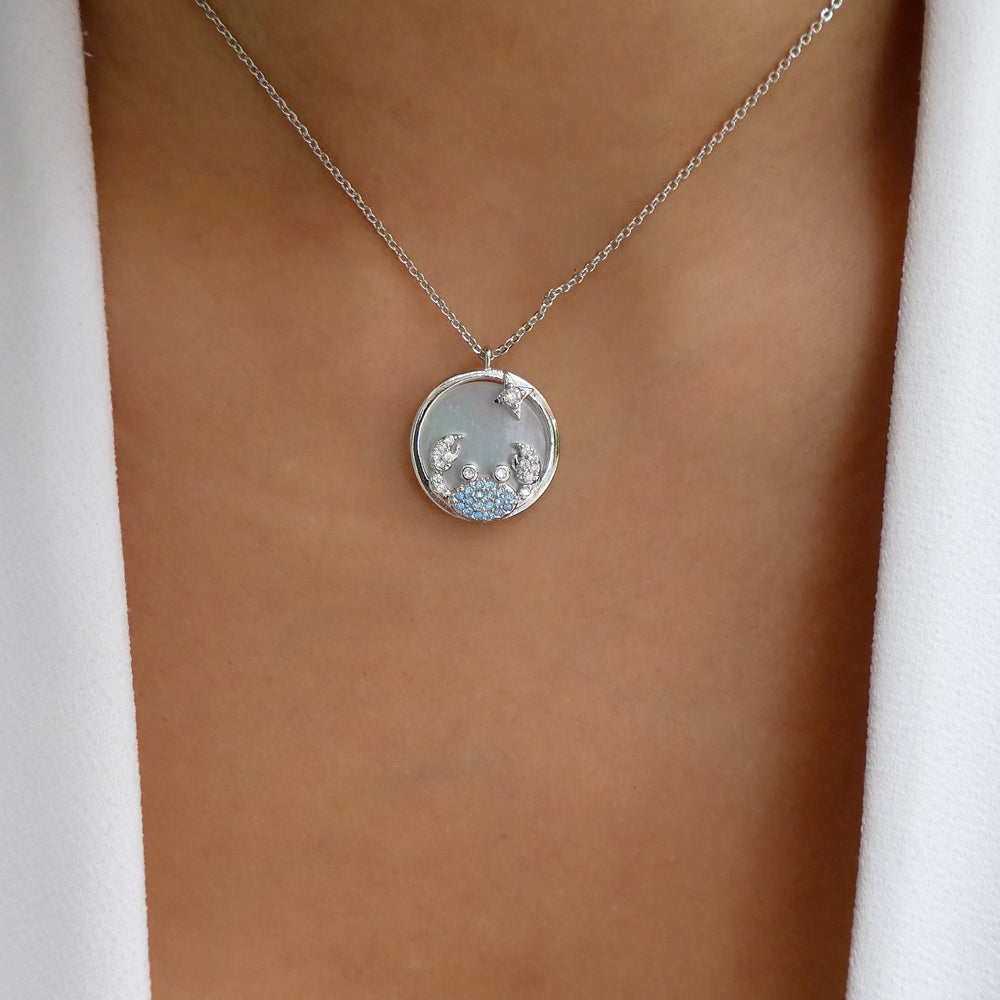 Silver Ali Zodiac Necklace (Cancer)
