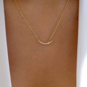 18K Crystal Crescent Necklace