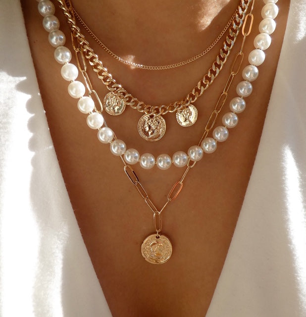 Kattie Pearl & Coin Necklace