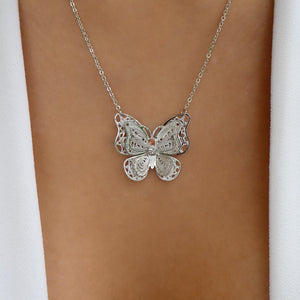 Silver Leah Butterfly Necklace