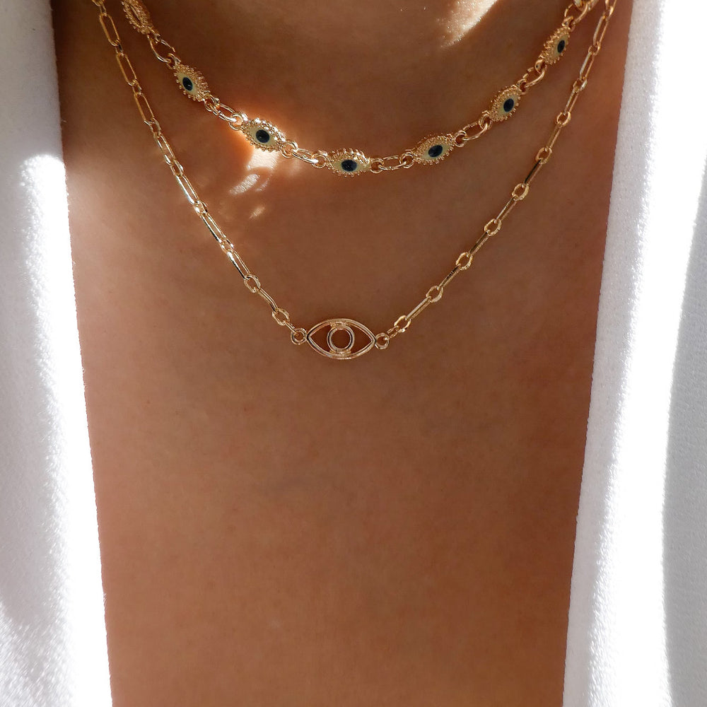 Eye & Chain Necklace Set
