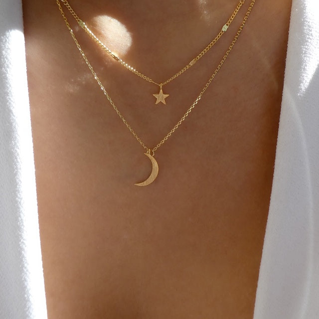 18K Moon & Star Necklace