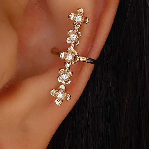 Mini Crystal Flower Ear Cuff